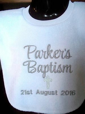 Personalised Baby Bib Embroidered GIFT Christening Baptism Name Day -Any name