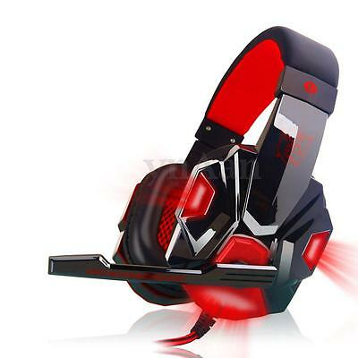 USB 3.5mm LED Stereo Gaming Cuffie Gioco Headset con Microfono Mic Per PC Laptop