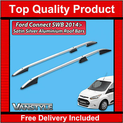 Ford Transit Connect Swb 2014+ Silver Roof Rack Rails Aluminium Bars No Drill