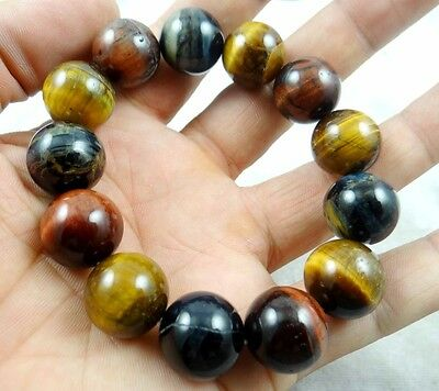 Natural Tiger Eye Stone Gemstone Beads Men Woman Jewelry Bracelet Bangle X1