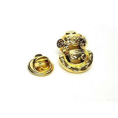 Golden Deep Sea Divers Helmet Lapel Pin Badge X2AJTP525