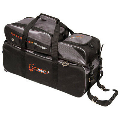 Hammer 3 Ball Tote Bowling Bag with shoe pocket Black Carbon New