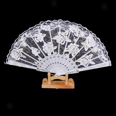 1pcs Hand Fan Chinese Folding Sequined Rose White Lace Trim Japanese Fan NEW