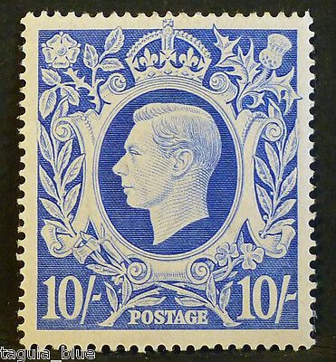 GB Stamps KGVI SG 478b 10s ultramarine - Mint with faint trace of hinge