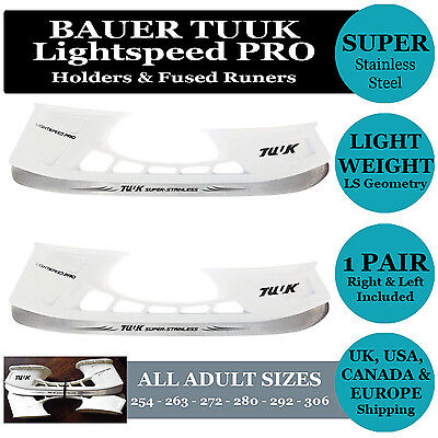Pair TUUK LIGHTSPEED PRO Hockey Ice Skate Holders Stainless Steel Runners/Blades