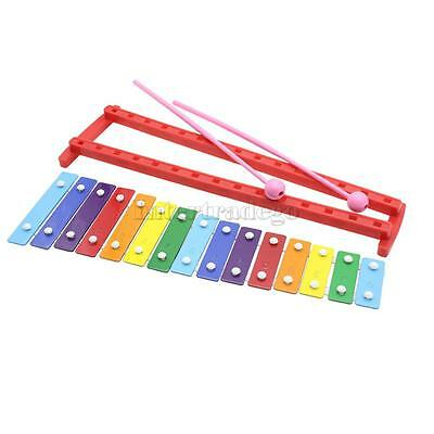 Lovely Tune 15 Keys Aluminum Glockenspiel Xylophone Kid Musical Toy Colorful