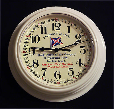 Union Castle Line Shipping Wall Clock Vintage Styled Replica, Superb.