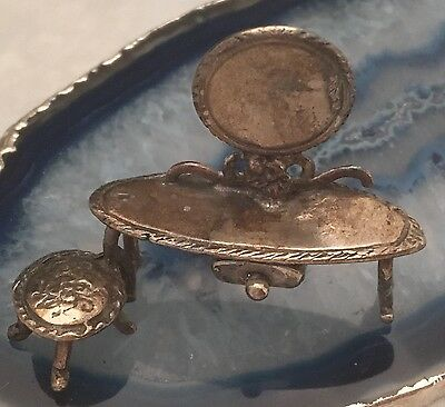 Antique Sterling Silver Miniature DRESSING TABLE & MIRROR Dollhouse ITALY - L073