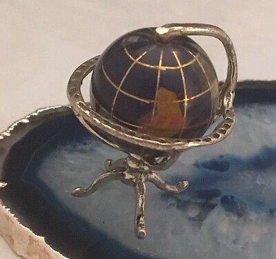 STUNNING Antique Sterling Silver Miniature SPINNING GLOBE Dollhouse ITALY - L077