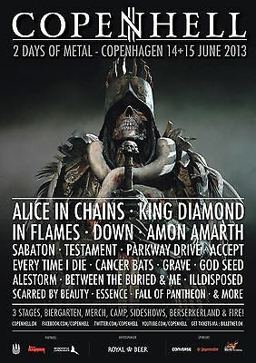 COPENHELL 2013 DENMARK CONCERT POSTER - Alice In Chains, King Diamond, In Flames