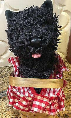 WIZARD OF OZ TOTO DOG IN BASKET HALLOWEEN COSTUME TOY Red Gingham