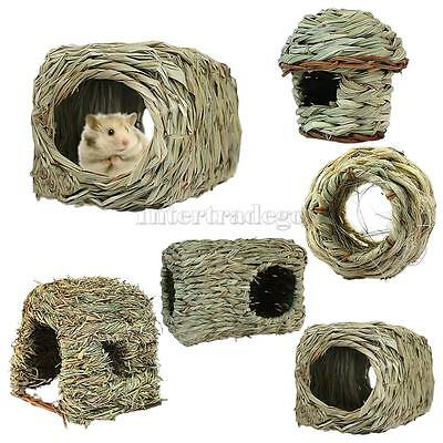 Pet Hamster Mouse Rat Rabbit Grass House Kennel Snooze Cabin Crate Hide 5 Style