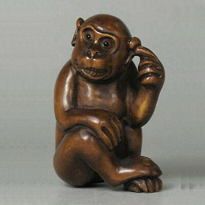 Boxwood Wood Netsuke Cute Monkey Figurine Carving WN522