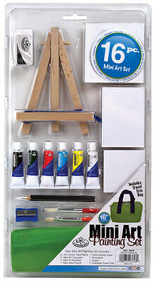 Acrylic Painting Artist Art Set 3 x Canvas Brushes Paint & Wooden Easel MS101
