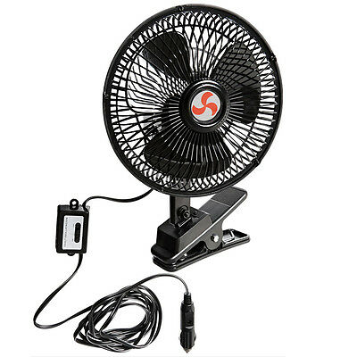 New Portable 12Volt 8 Inch Car Cooling Fan with Clip Switch Outdoor Camping