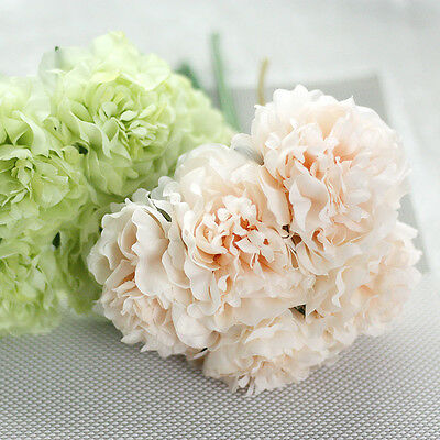Artificial Bouquet 5 Heads Peony Silk Flower Fake Leaf Home Wedding Party Decor
