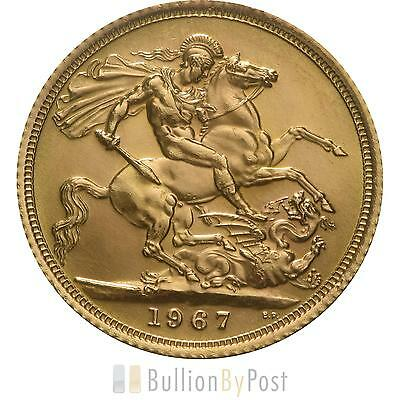 1967 Gold Full Sovereign - Elizabeth II Young Head