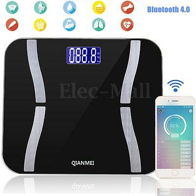 180KG Bluetooth 4.0 LED Digital Smart Weight Scales Body Fat Bone Muscle BMI