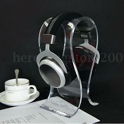 Clear Crystal Acrylic Headphone Stand Headset Holder Desk Display Hanger Rack