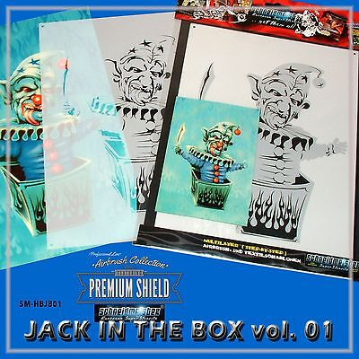 "MULTILAYER AIRBRUSH SCHABLONE ""JACK IN THE BOX"" MYLAR PREMIUM SM-HBJB01, ca. A4"