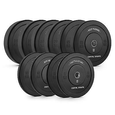 Capital Sports Training Weight Plates Set 5 Pairs Rubber Cross Barbell Bar