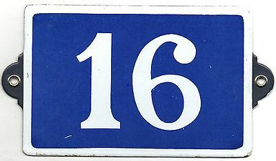 Old blue French house number 16 door gate plate plaque enamel metal sign steel