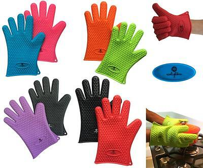 Pair of Gloves Heat Resistant Silicone Gloves Kitchen BBQ Oven Cooking Mitts