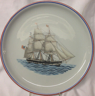 """Mottahedeh Our Maritime Heritage Dinner Plate 10 1/2"""" Ship Yorkshire Ny Red Trim"""