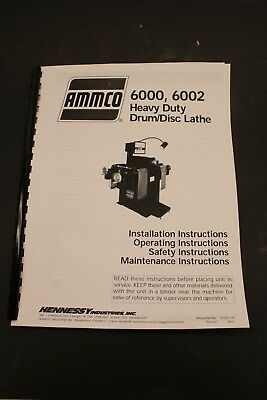 Ammco 6000 Heavy Duty Brake Lathe Operating Manual