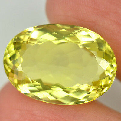 15.29 ct  IF ! Wunderschöner ovaler 20.1 x 14.2 mm Brasilien Lemon Quarz