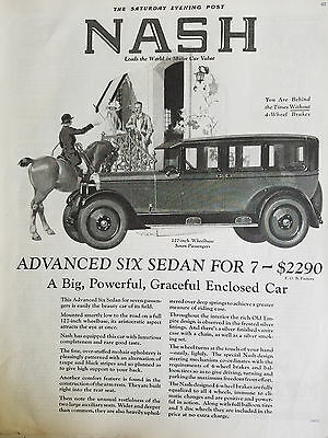 1925 Nash Advanced Six Sedan Seven Passenger Car Original Ad