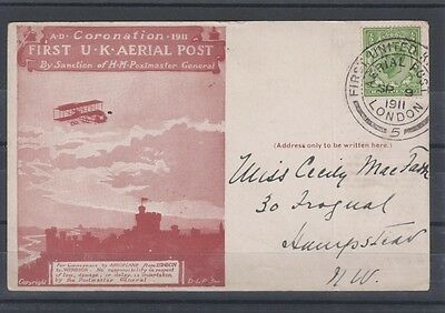 1911 First UK Aerial Post from London to Windsor, Sepia Postcard