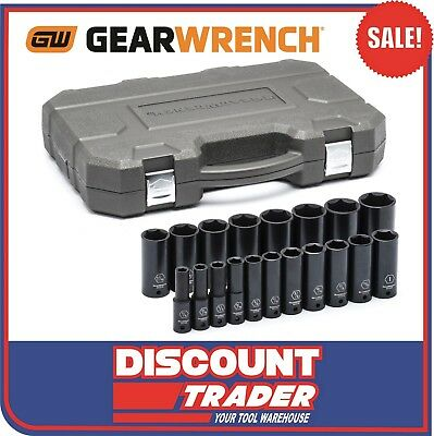 "GearWrench 19 Piece Impact Socket Set Deep SAE 1/2"" Drive 84934"
