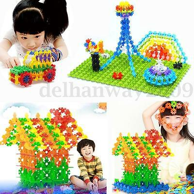 400pcs Colorful Kids Snowflake Building Construction Blocks Educational Toy Gift