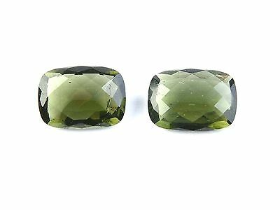8.74cts RECTANGLE 10x14mm moldavite faceted stones sets for jewelers BRUS1437