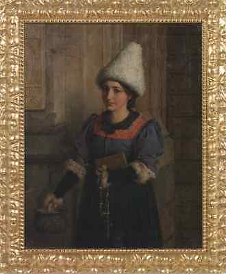 "perfect 20x25 oil painting handpainted on canvas ""peasant in costume""N5391"