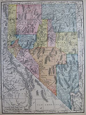 1910 Antique NEVADA Map of Nevada State Map Gallery Wall Art 3052