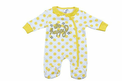 New Girls Yellow Spotty Be Happy Cotton Sleepsuit - baby girl 0-6 months