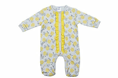 New Girls Yellow Grey Floral Cotton Sleepsuit all in one - baby girl 0-6 months