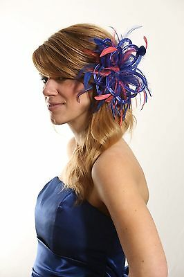 Royal Blue with Coral Pink Fascinator Hat choose any colour satin/feathers