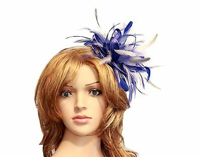 Royal Blue with Silver Fascinator Hat choose any colour satin/feathers
