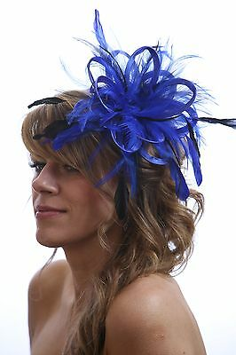 Royal Blue with Navy Blue Fascinator Hat choose any colour satin/feathers