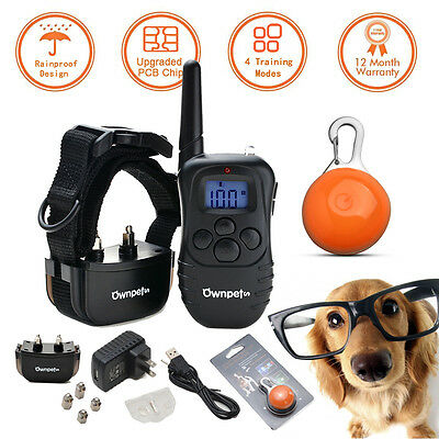 330 Yard Rechargeable LCD Remote 100LV Level Shock Vibra Pet Dog Training Collar