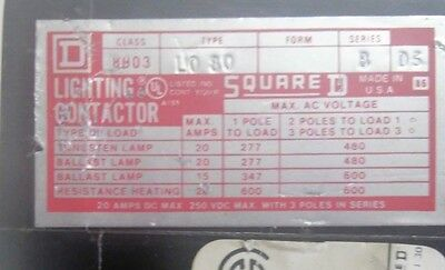 Square D Lighting Contactor  8903 LO80