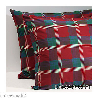 "IKEA ANNBRITT - Set of 2 Pillowcases Red Check Square Euro 26 x 26 "" Cotton"