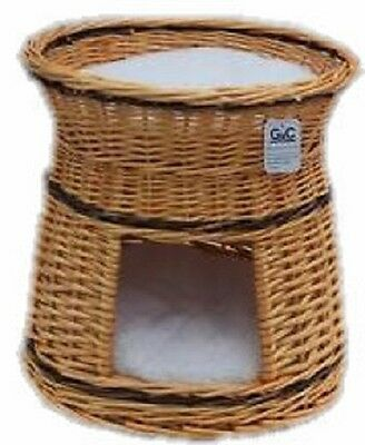 Cat Dog Basket Natural Round  2 Tier  With Cushion