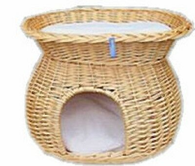 Cat Dog Basket 2 Tier With Cushion Light Wicker