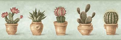 Wallpaper Border Southwestern Potted Cactus Prickly Pear, Barrel Cactus on Green