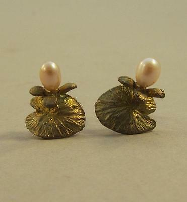 Antique Enameled Sterling Freshwater Pearl Art Nouveau Lily Pad Post Earrings