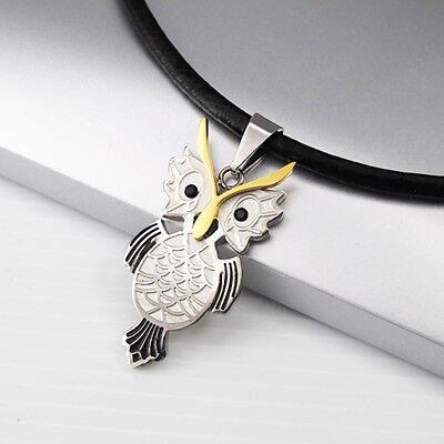 Silver Gold Stainless Steel Wizard Of Owl Pendant Black Leather Womens Necklace